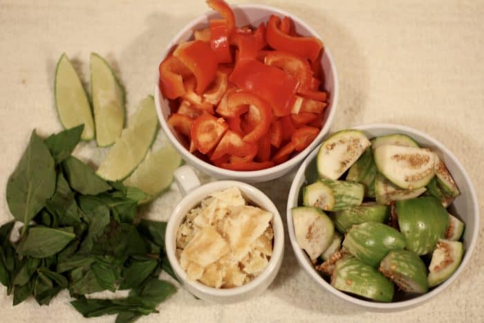 fresh ingredients prepared for thai green curry