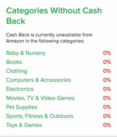 categories without cash back on Ebates