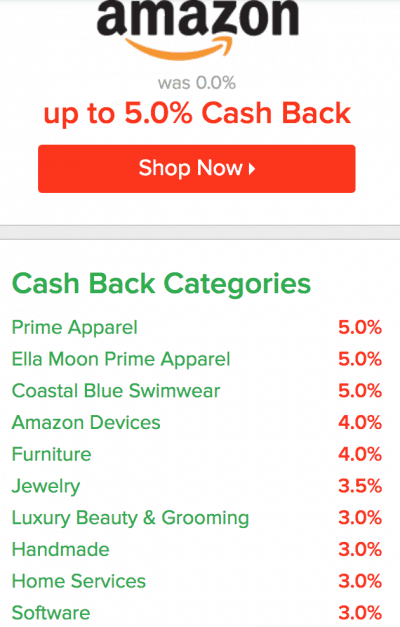 categories with cash back on Ebates