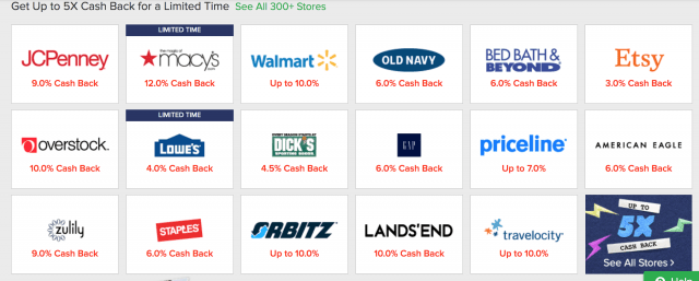 A screenshot of different stores Ebates Cash back amounts