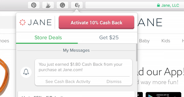 screenshot of the Ebates button activated on a computer browser showing how does Ebates work