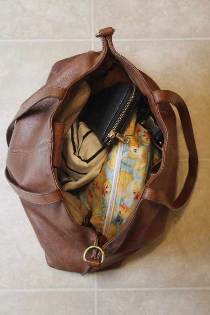 This is my diaper bag. Filled minimally as my purse and diaper bag combined.