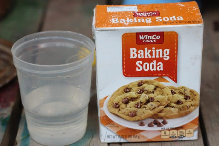 Baking soda, vinegar, and a medicine syringe outside will keep them SO excited and just rinse it all away with some water at the end.