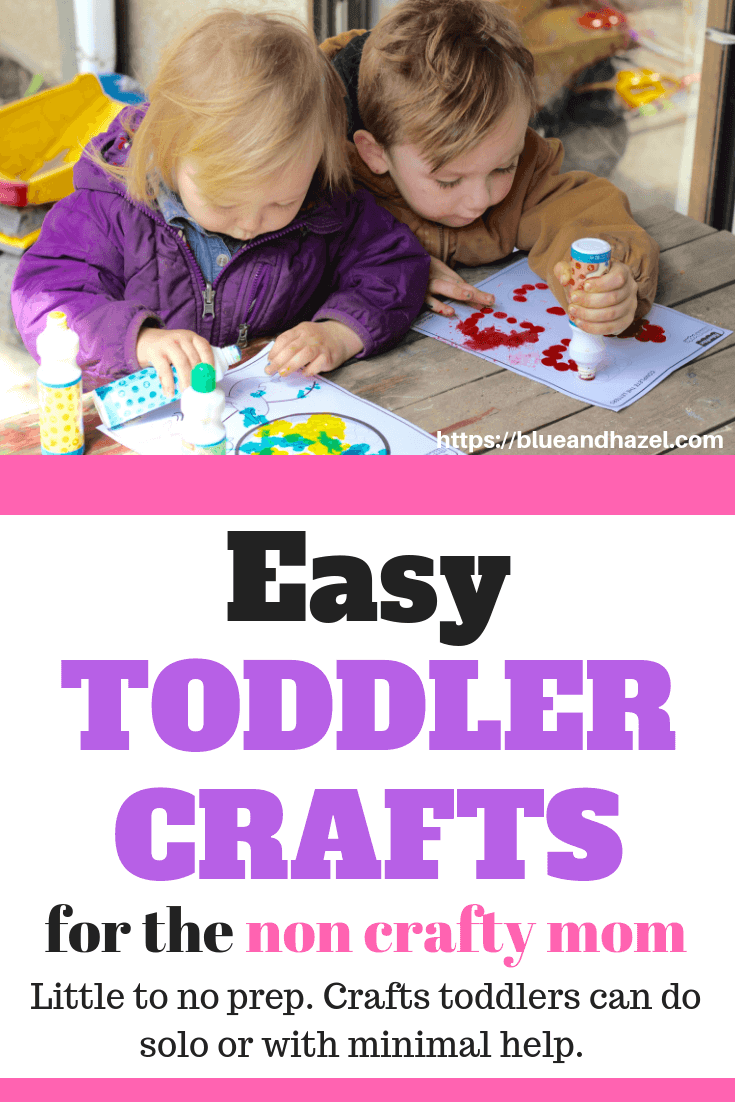 Easy Toddler Crafts! Awesome list of hands on activities that toddlers can do with little preparation and little mess. #blueandhazel #toddler #toddlercrafts #preschool #preschooler