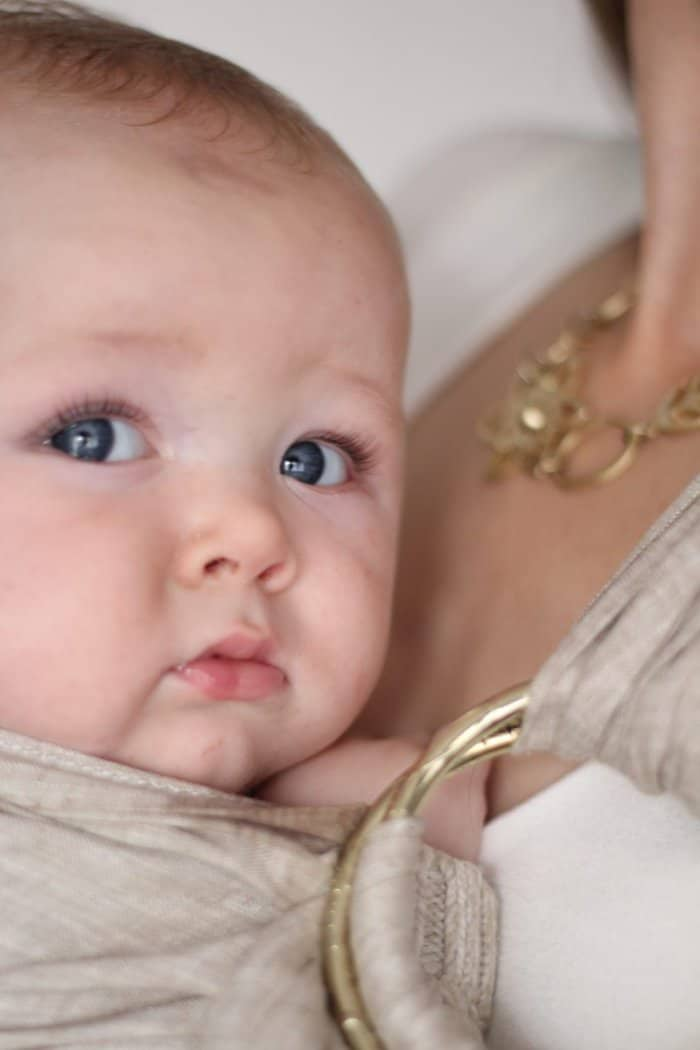 lillebaby ring sling review in golden harvest, holding a 6 month old