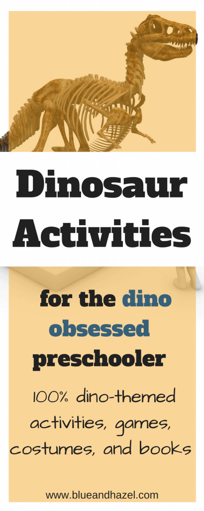 dinosaur activities for preschoolers, dinosaur games, dinosaur costumes, dinosaur books. #dinosaur #blueandhazel #dinosauractivities #toddler #kidactivities