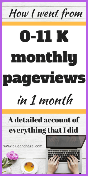 Pinterest image of a computer and text saying: How to get more traffic with your blog. I increased pageviews to 11,000 in one month, having never received more than 1,000 before. Heres how to get more pageviews and make money blogging when you feel stuck #blogging #monetizeyourblog #momblogger #blueandhazel #mompreneur