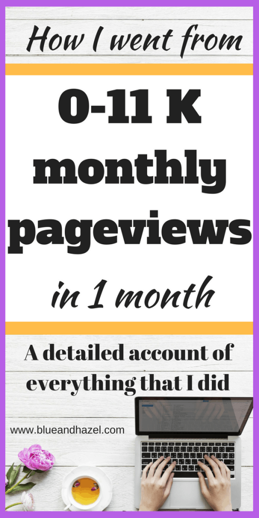 How I increased pageviews to 11,000 in one month, having never received more than 1,000 before. Heres how to get more pageviews and make money blogging when you feel stuck #blogging #monetizeyourblog #momblogger #blueandhazel #mompreneur