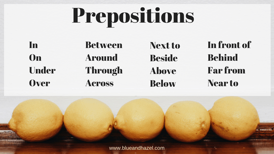 preposition list for preschool activities