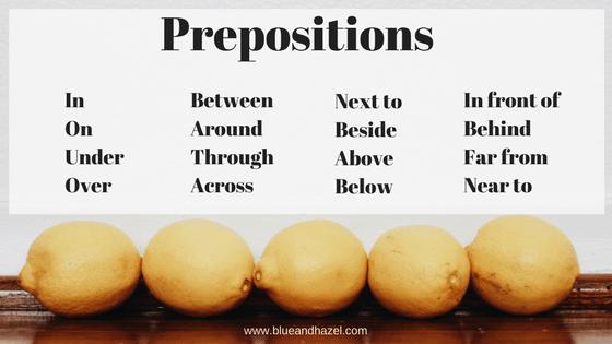 preposition list for preschool activities