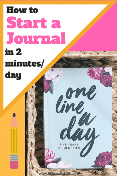 How to start journaling using the one line a day journal. 5 years worth of memories, and easy for busy people to use in 2 minutes/day! #journaling #blueandhazel #journal #onelineaday #onelineadayjournal #momlife #moms #howtojournal #startajournal #kids #memories #organization #momhacks #newmoms #giftformom #mothersdaygift