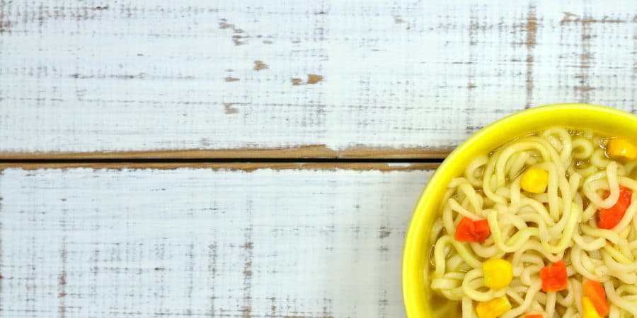 brat diet food list ramen pic on a vintage white table