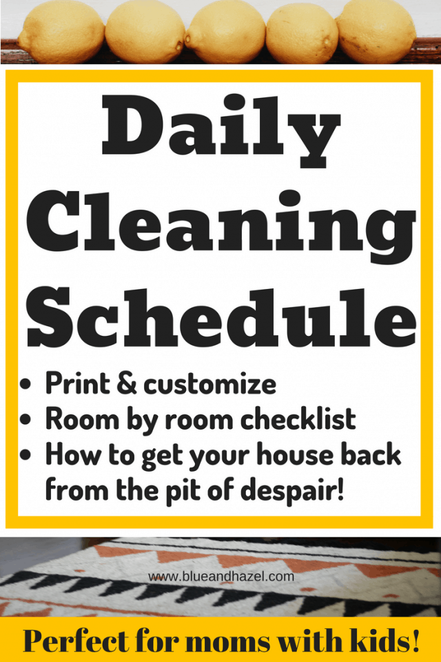 Pinterest optimized image: Daily Cleaning Schedule infographic
