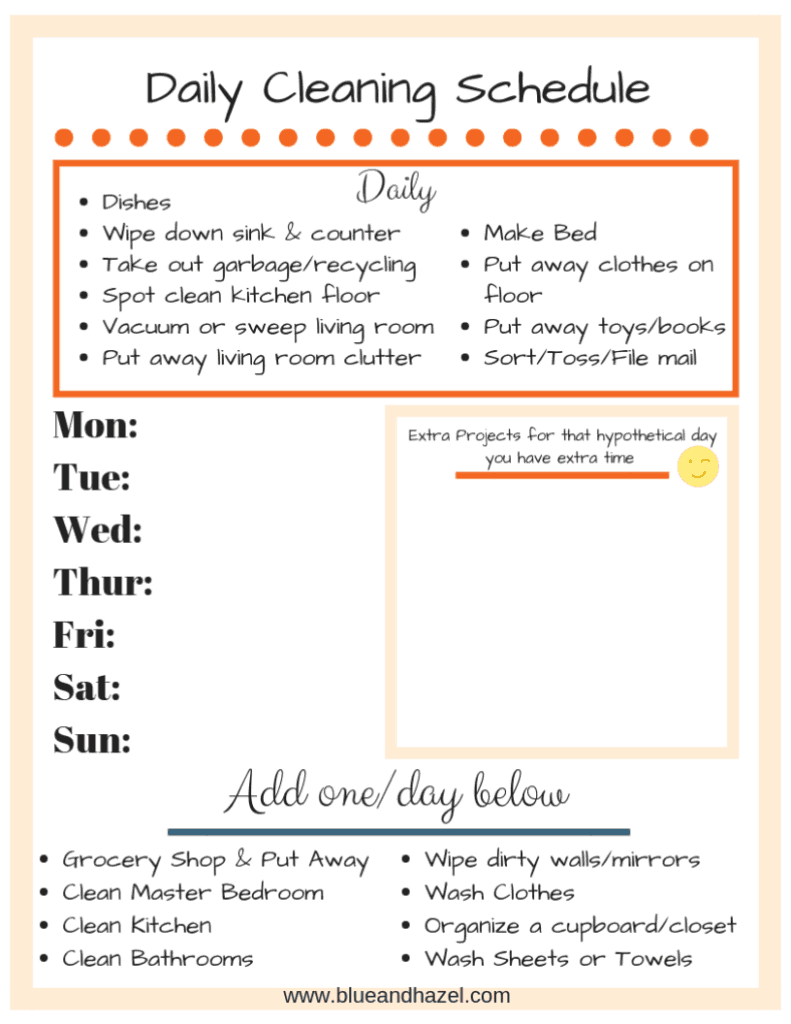 daily cleaning schedule customizable
