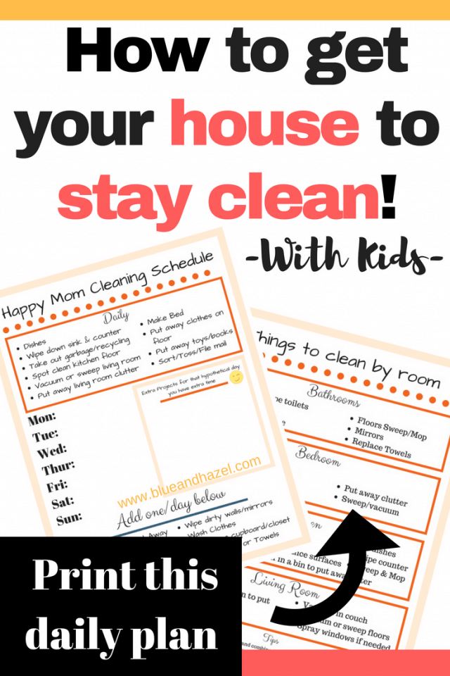 pinterest infographic showing a daily cleaning checklist and room by room cleaning checklist