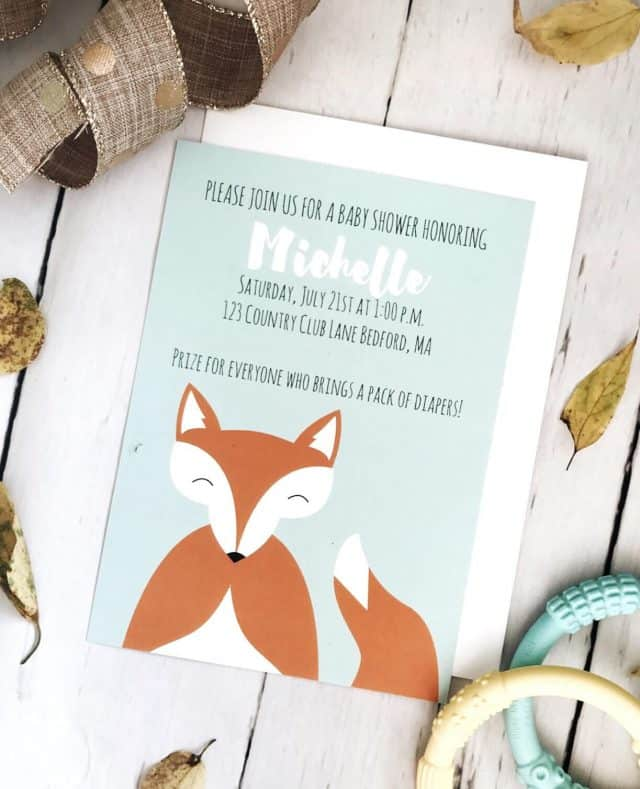 Woodland fox baby shower invitation with teal background by Basic Invite
