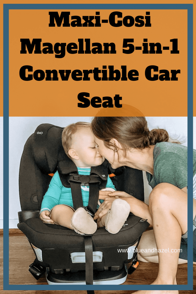 A mom tucking her baby boy into their new black Maxi-Cosi Magellan 5-in-1 Convertible Car Seat!