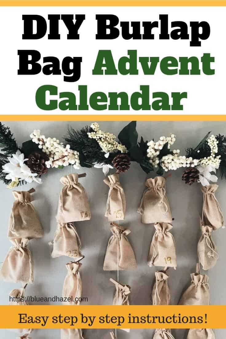 Beautiful burlap bag advent calendar for kids using pine, pinecones, burlap bags, and a branch. An easy DIY advent calendar!