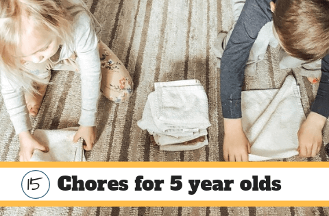 15 chores a 5 year old can do. Folding rags on the floor.