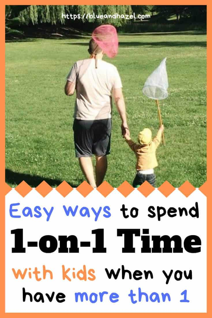 One on one time as a father and son go fishing. Ways to spend one on one time with multiple kids pinterest graphic.