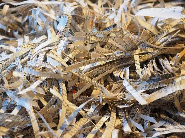 Shredded paper from safely disposing of important documents at home