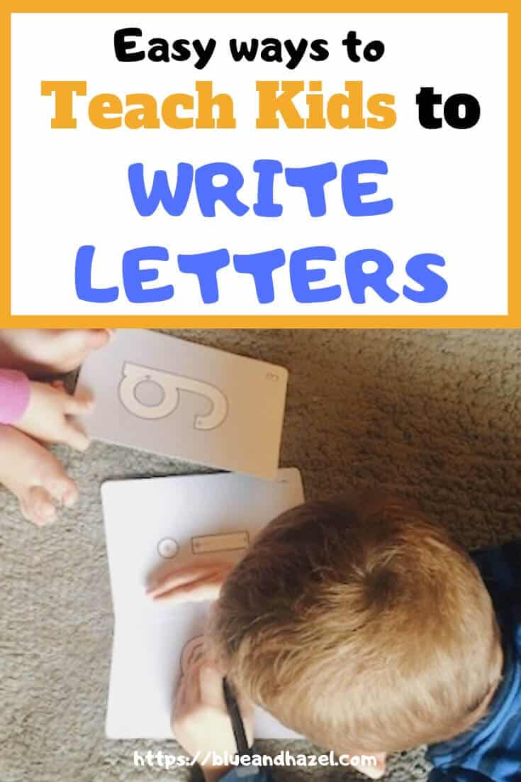 Preschooler letter writing activities and name writing activities for homeschool preschool and homeschool kindergarten. #blueandhazel #preschool #kindergarten #homeschool #namewriting #alphabet
