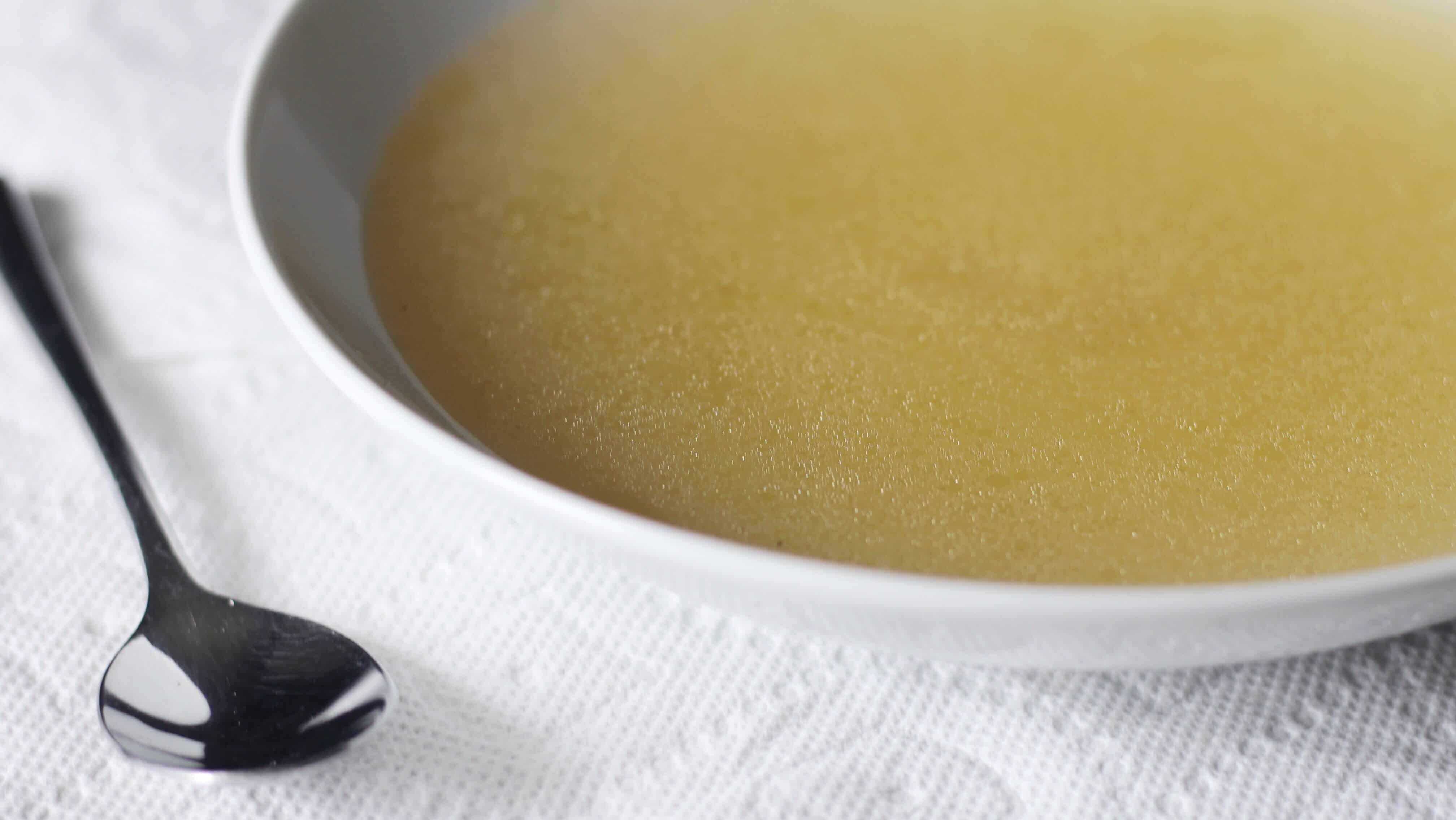 A bowl of chicken stock made in the Instant Pot