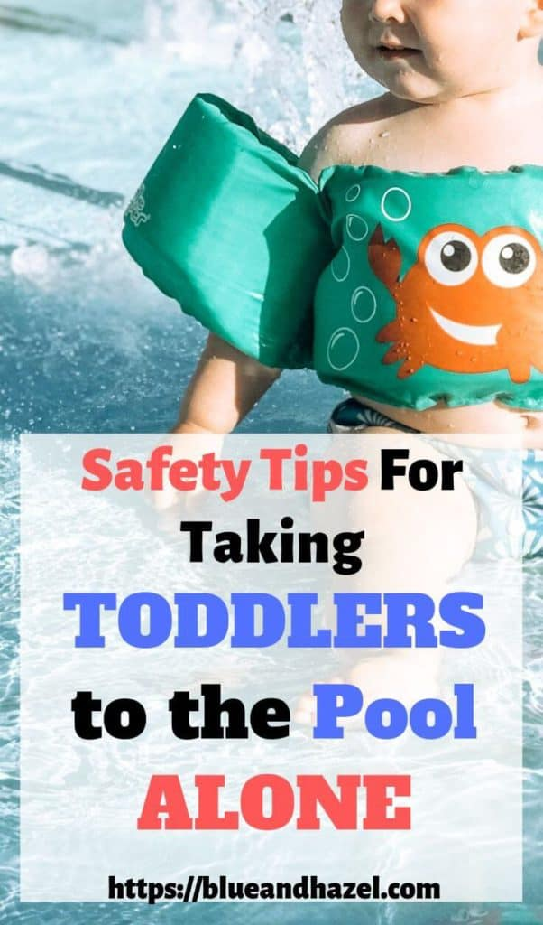 Pinterest Image of Toddler Boy wearing a puddle jumper at the pool