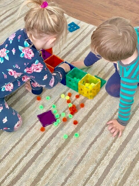 kids sorting pom pom balls for a busy toddler preschool activity