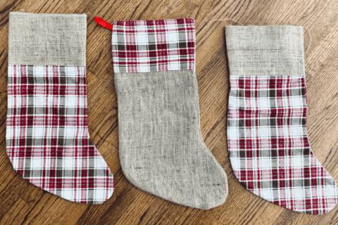 3 burlap and plaid print christmas stockings