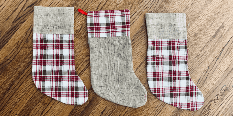 3 burlap and plaid print christmas stockings