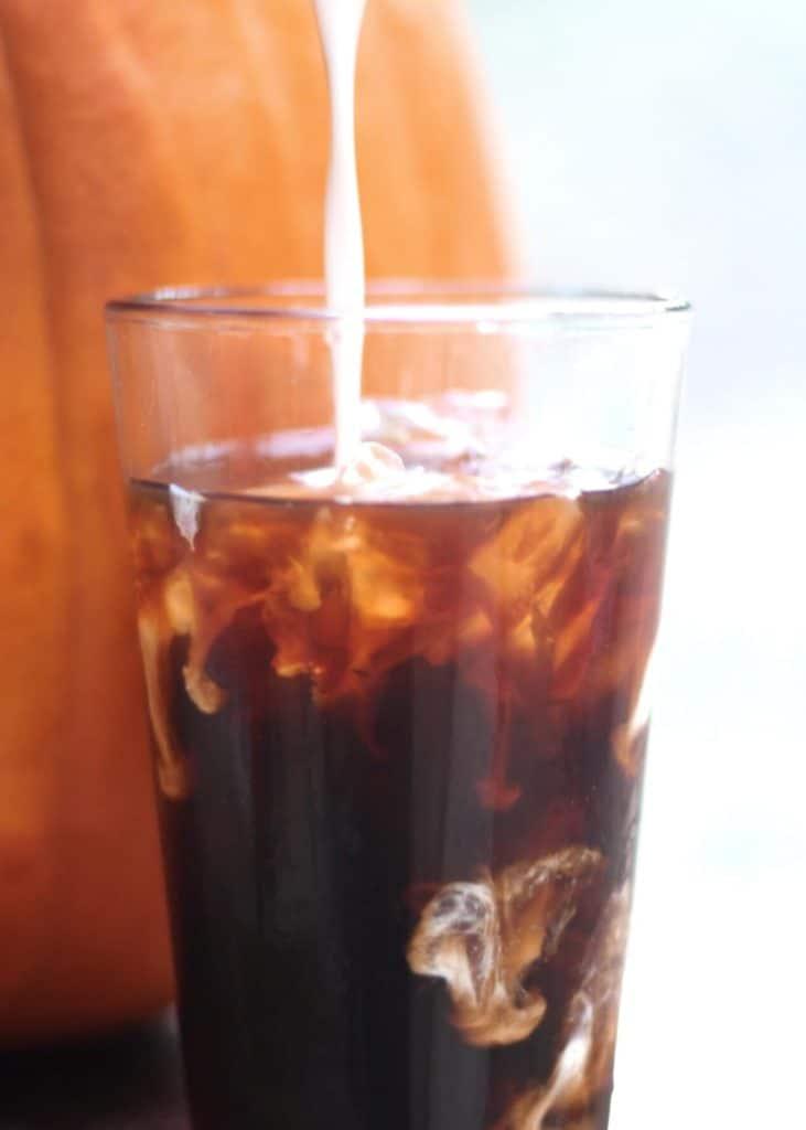 homemade iced pumpkin spice coffee