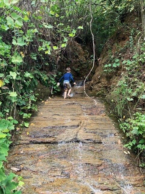 A kindergarten boy climbing up a rocky waterfall.