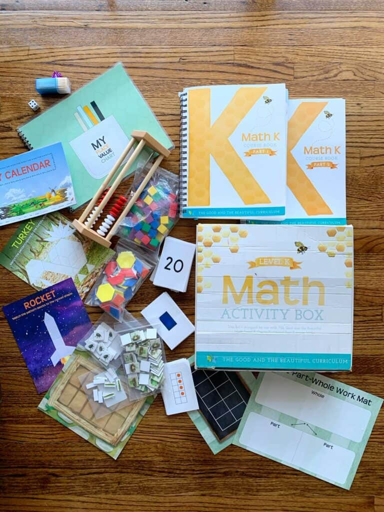 level k math activity box contents from The Good And The Beautiful