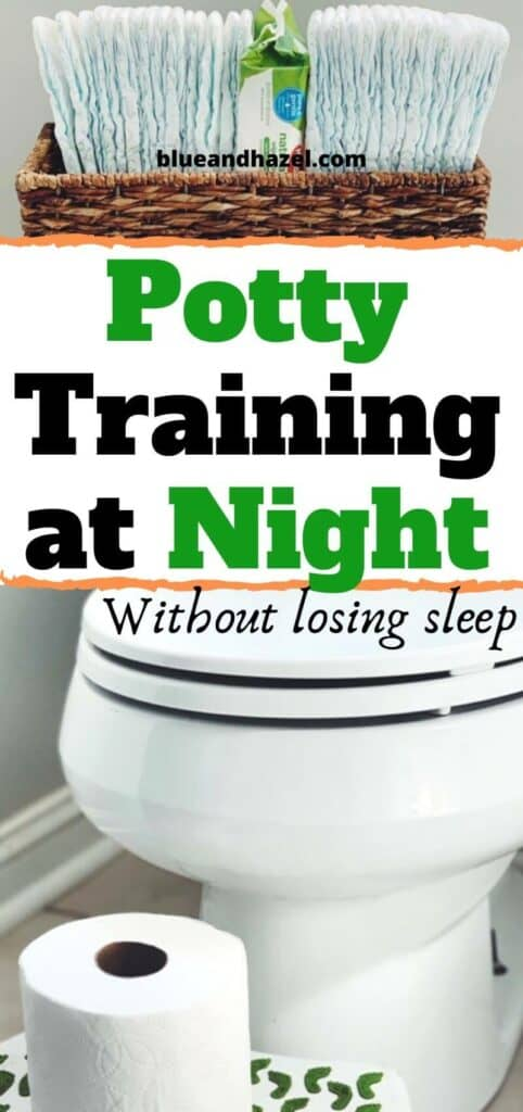 potty training at night pinterest image with photo of a toilet and toilet paper