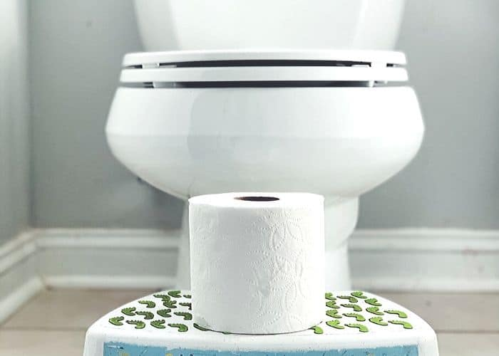 white toilet with toilet paper on a child's foot stool