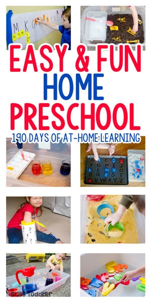 hands on activities like scooping, pouring water, and letter matching. A collage pin for playing preschool by busy toddler
