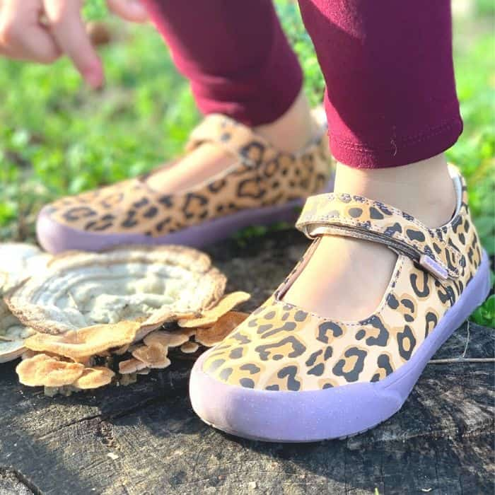 pediped mary jane style girl shoes with cheetah print and purple sole.