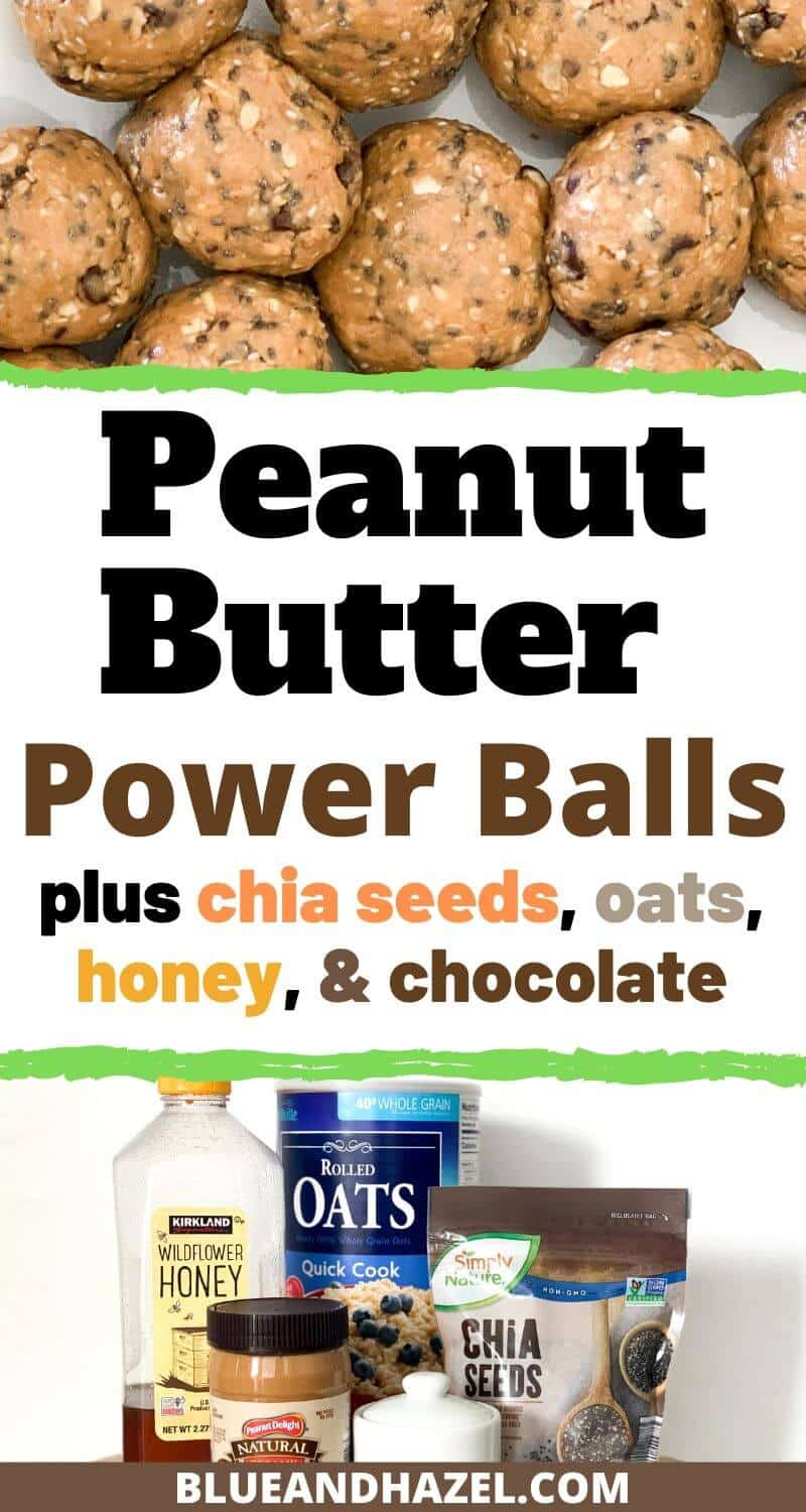 Peanut butter power ball recipe with peanut butter, chia seeds, oats, honey, and salt.