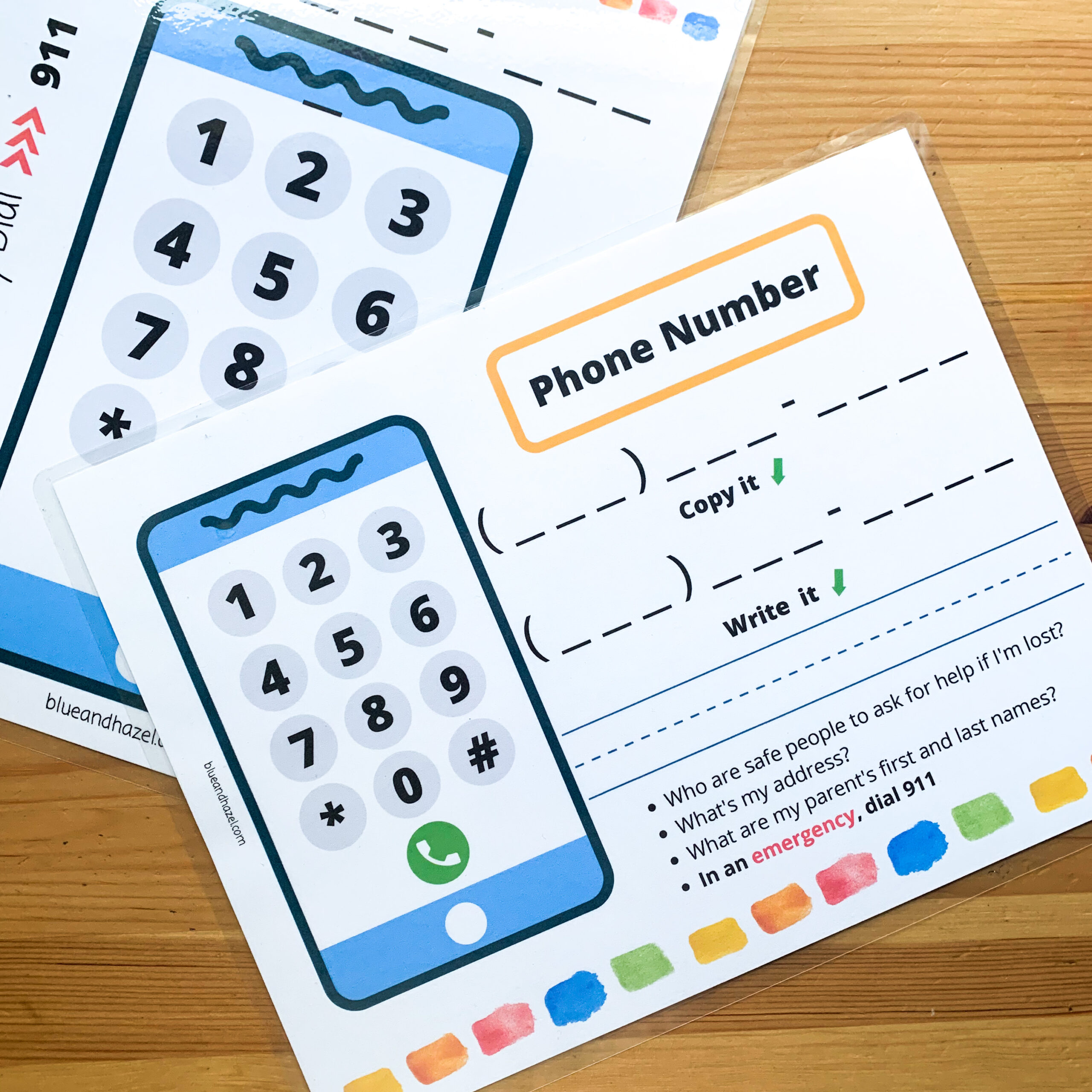 Phone number memorization printable for preschool and kindergarten students