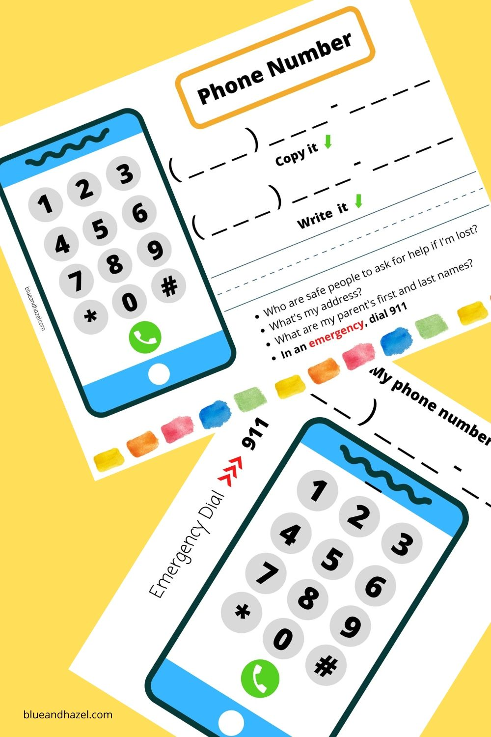 Phone Number Practice Printable Sheet: A perfect homeschool preschool activity on safety. Kids learn to memorize their phone number, press the buttons, and write their phone number.