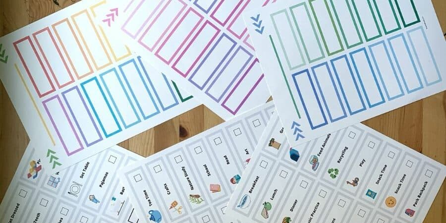 chore chart daily routine printable with pictures in blue, green, and rainbow