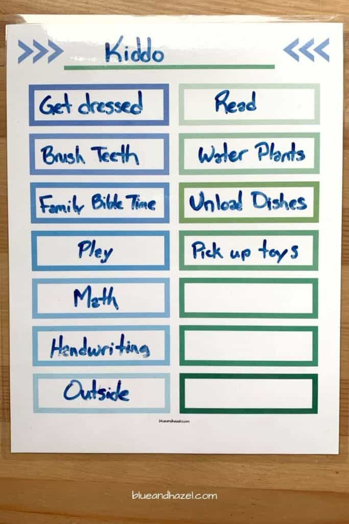 Laminated reusable chore chart for boys. Perfect for homeschool and for kids who can read.