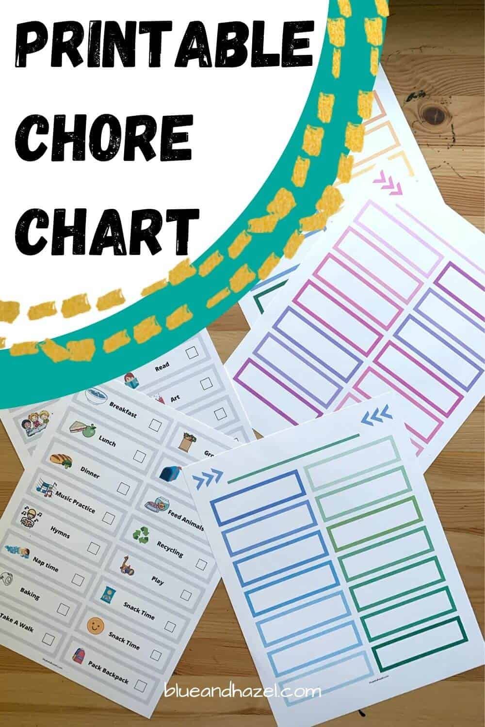 Printable preschool routine/chore chart for kids with pictures! Includes blue, pink, and rainbow templates.