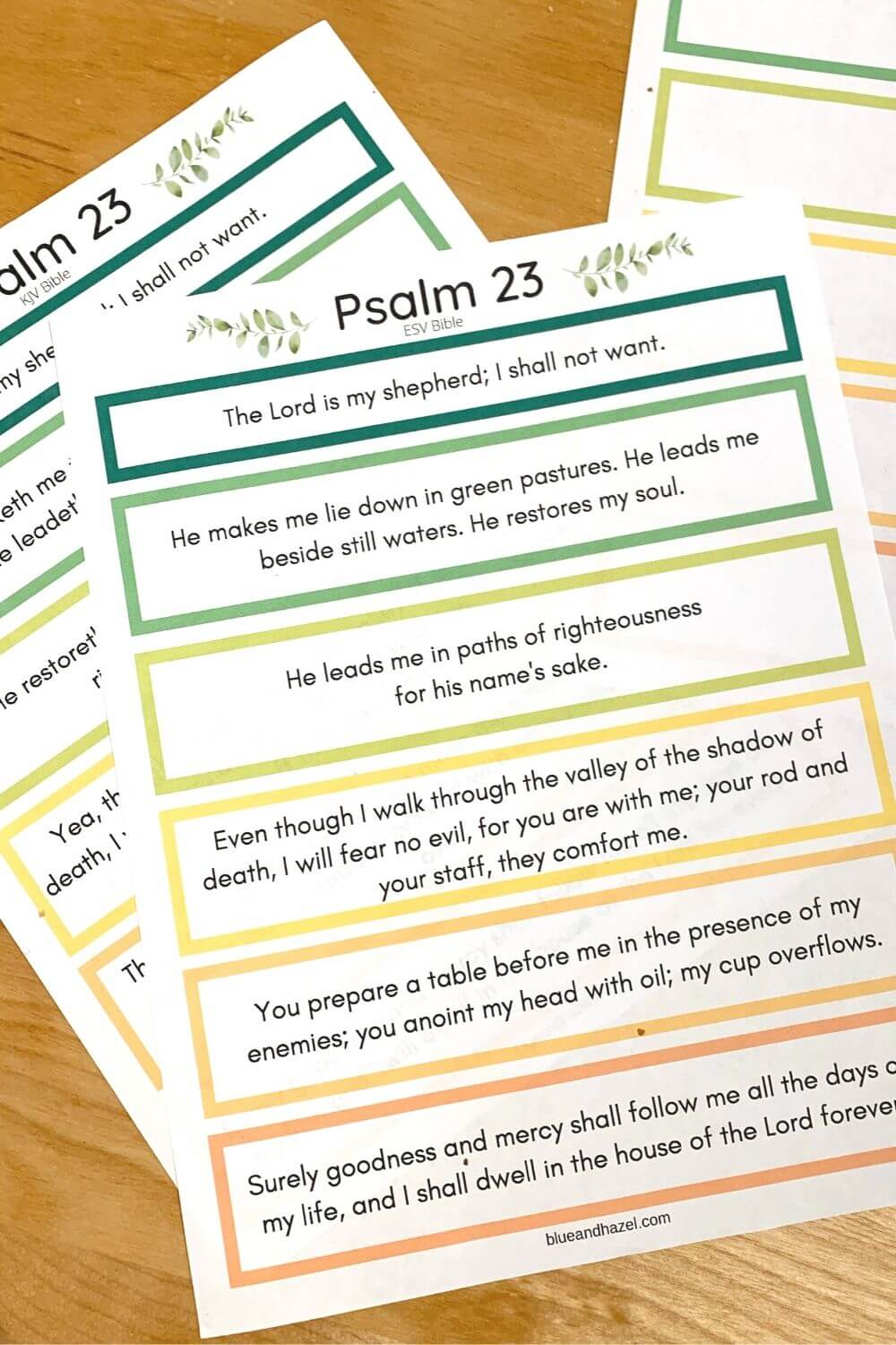 Psalm 23 printable for memory work, including KJV & ESV versions.
