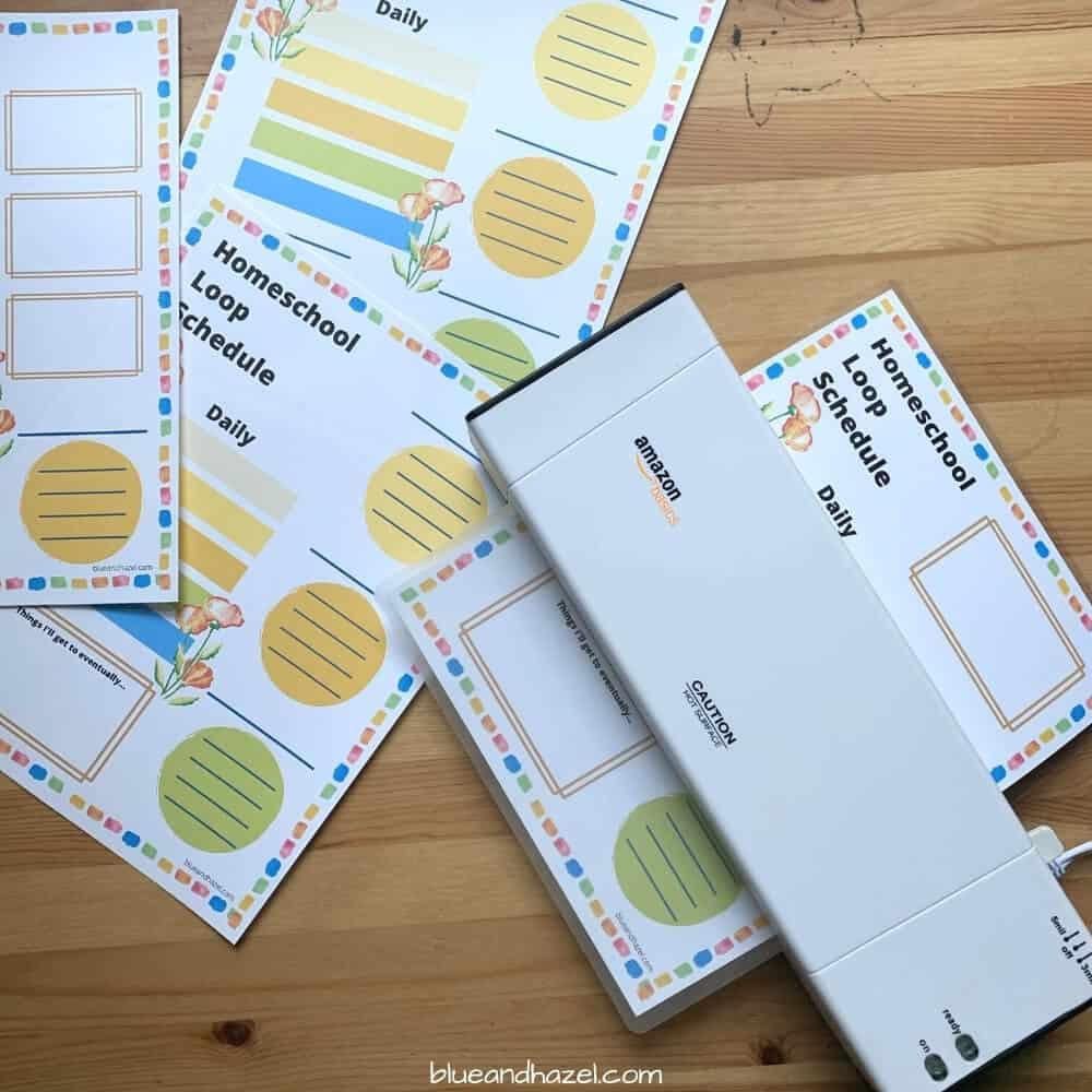 Amazon Basics laminating machine used to laminate this homeschool loop schedule.
