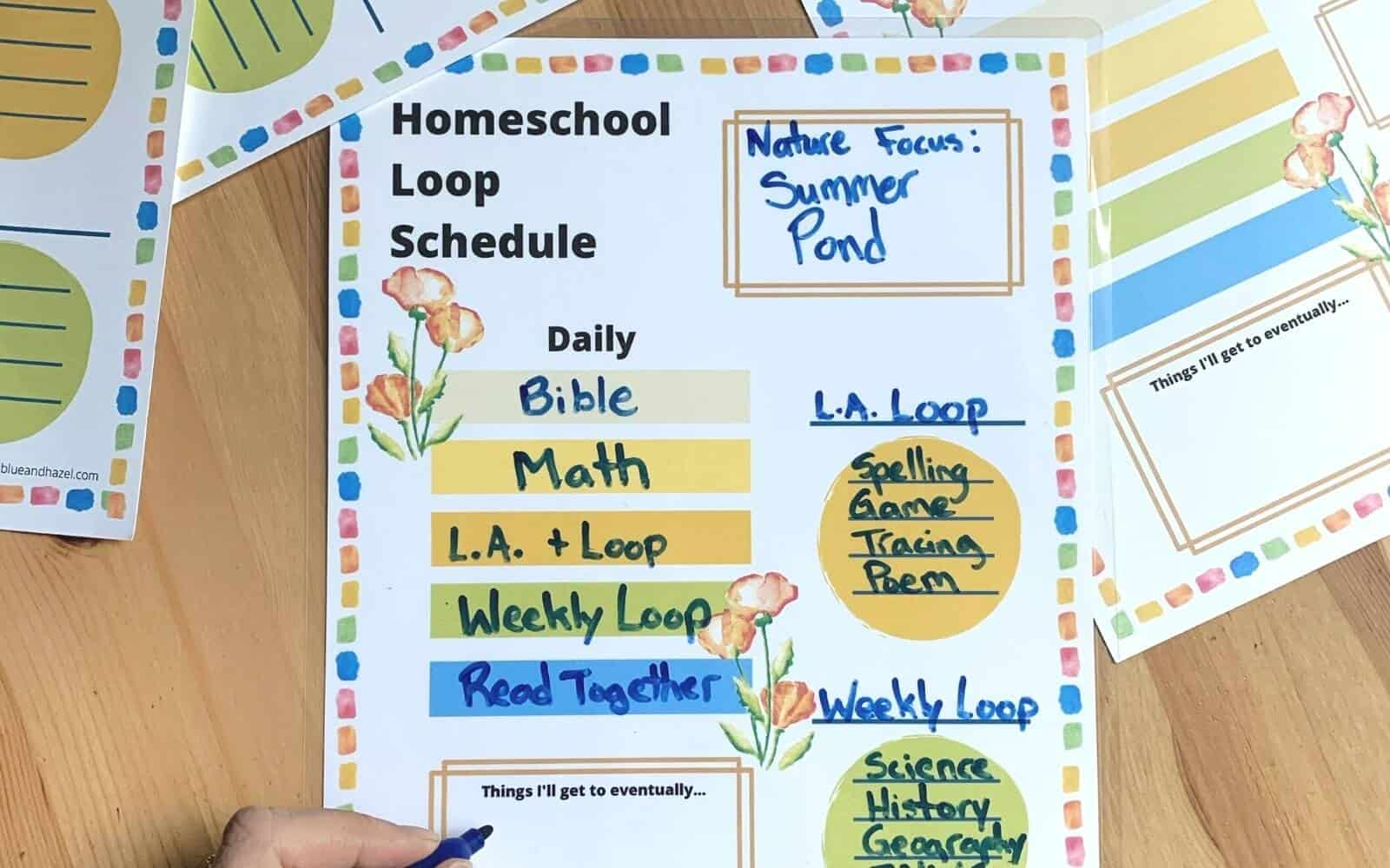homeschool 1st grade loop schedule printable