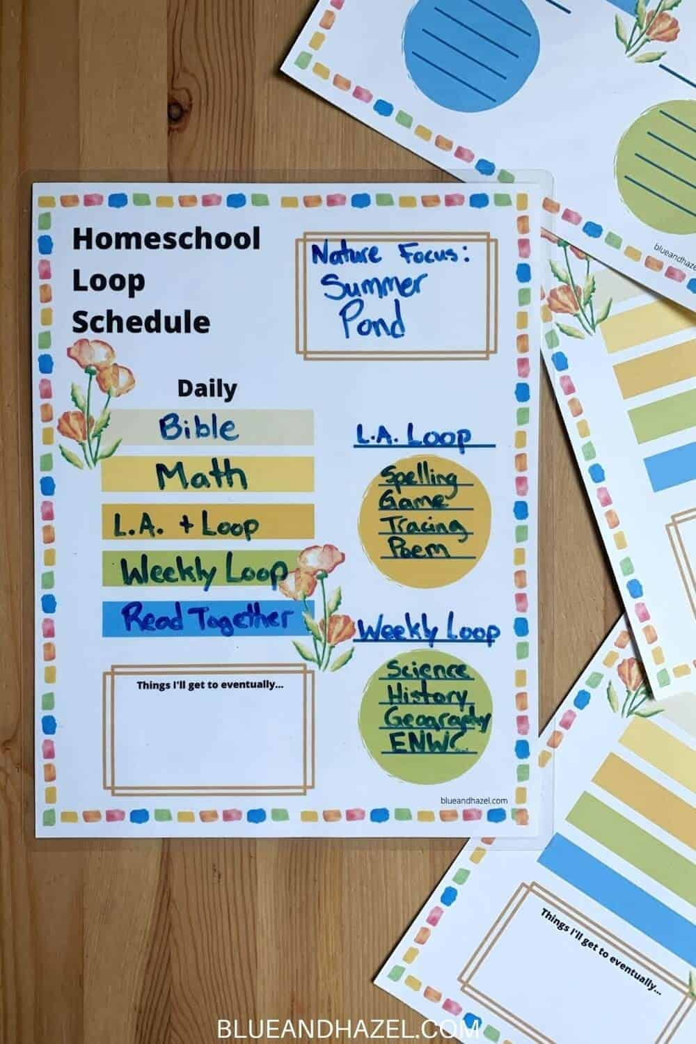 homeschool loop schedule to help organize your day. This loop schedule has a daily subject list and 1-4 loops you can customize. It's the perfect blend of not having to worry about doing a certain topic on a certain day, while still getting to all your school subjects.