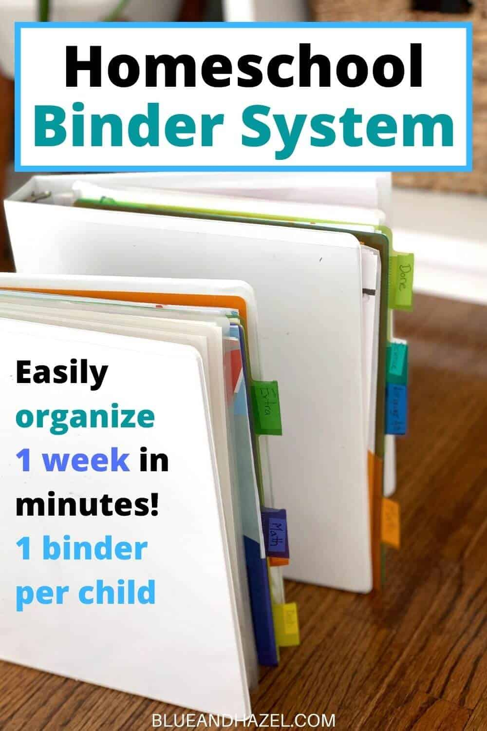 Organize a homeschool week using this a 3 ring binder system with tabs for homeschool subjects!