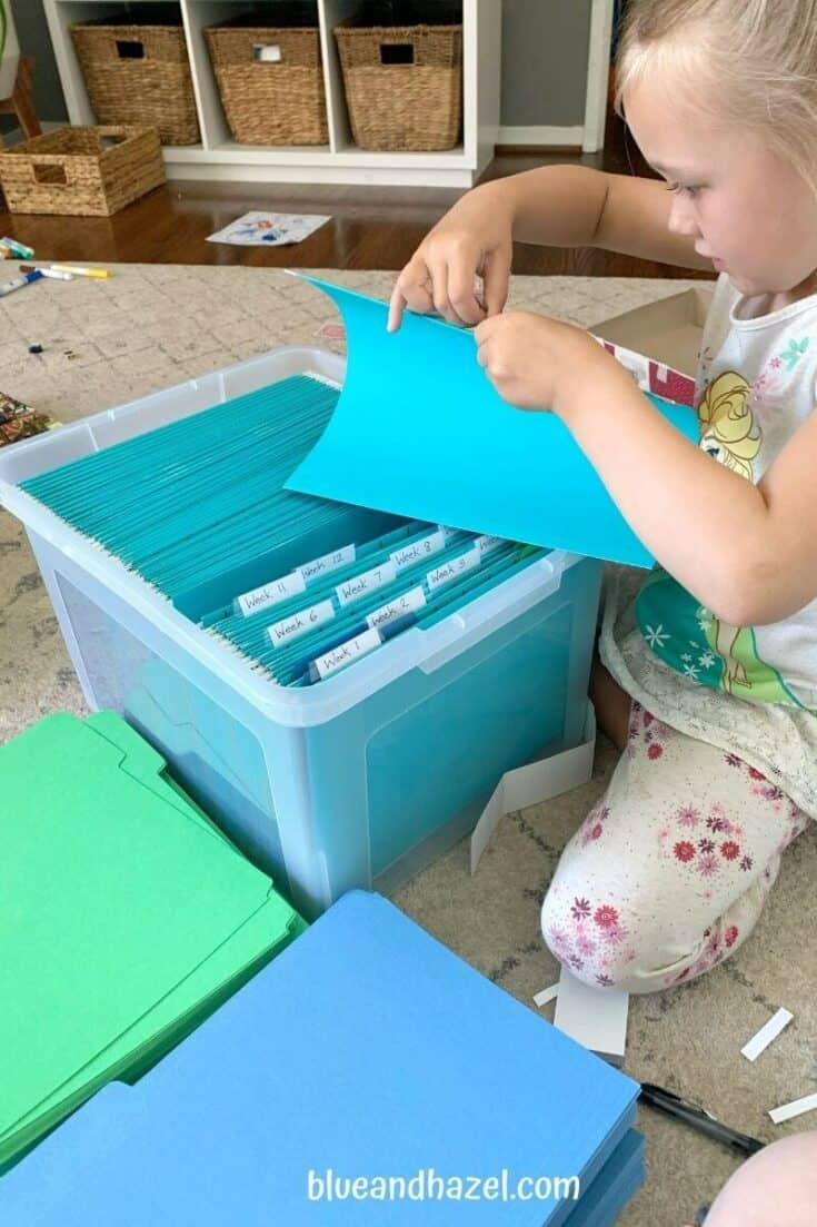 How to set up a homeschool crate system to organize your homeschool curriculum for the whole year!